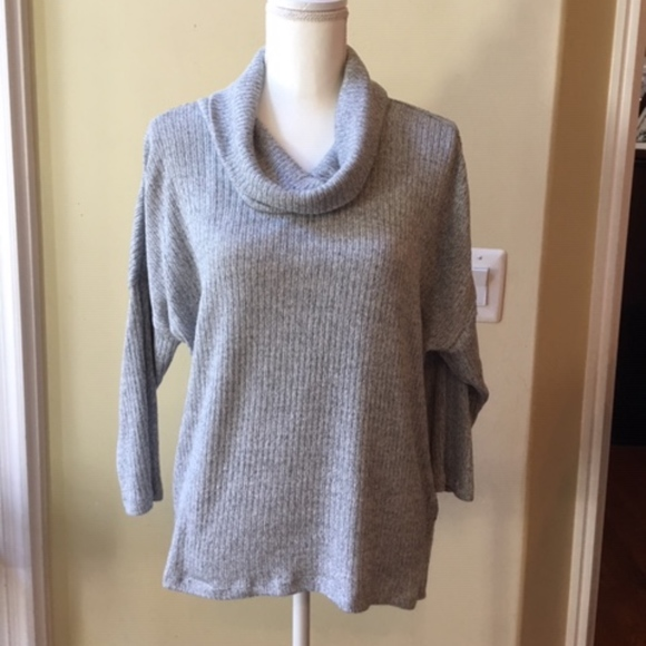 Larry Levine Gray Marled Cowl Neck Sweater